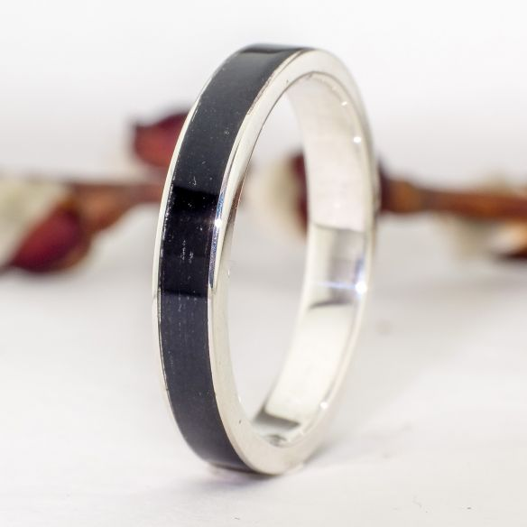 Silver wood rings Wooden silver band - Ebony wood 130,00 € Viademonte Jewelry