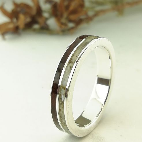Sand rings Sand and cherry wood silver ring 160,00€ Viademonte Jewelry