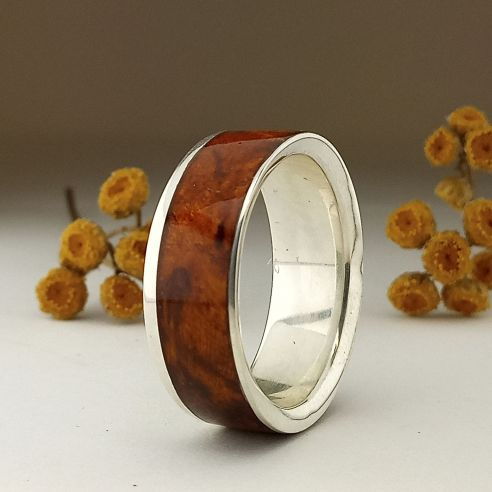 Silver wood rings Sterling silver ring and birch orange wood 150,00€ Viademonte Jewelry