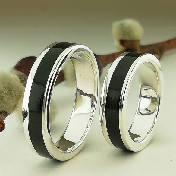 Ring sets Set of silver rings - Ebony wood 280,00 € Viademonte Jewelry