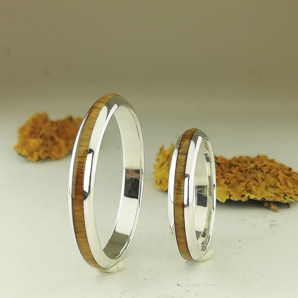 Ring sets Set silver ring and lignum vitae wood 260,00 € Viademonte Jewelry
