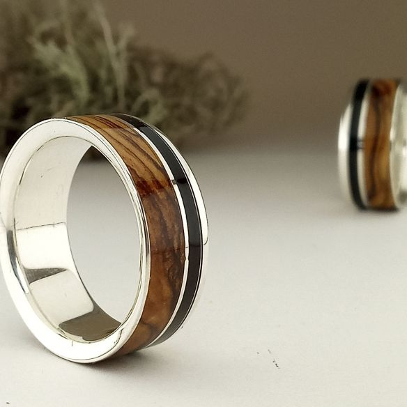 Ring sets Set of ebony and olive silver rings 320,00€ Viademonte Jewelry
