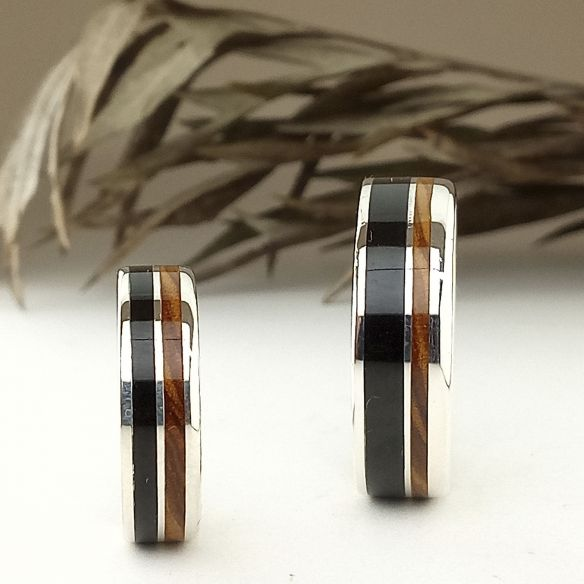 Ring sets Set of olive and ebony silver bands 320,00 € Viademonte Jewelry