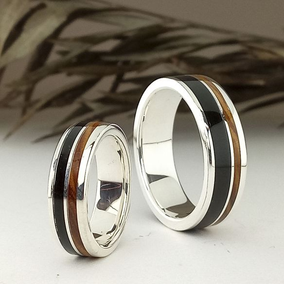 Ring sets Set of olive and ebony silver bands 320,00€ Viademonte Jewelry