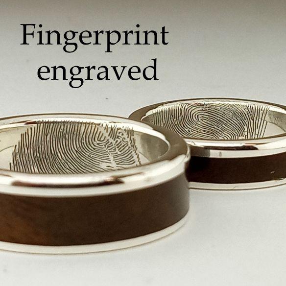 Fingerprint engraved in wedding ring