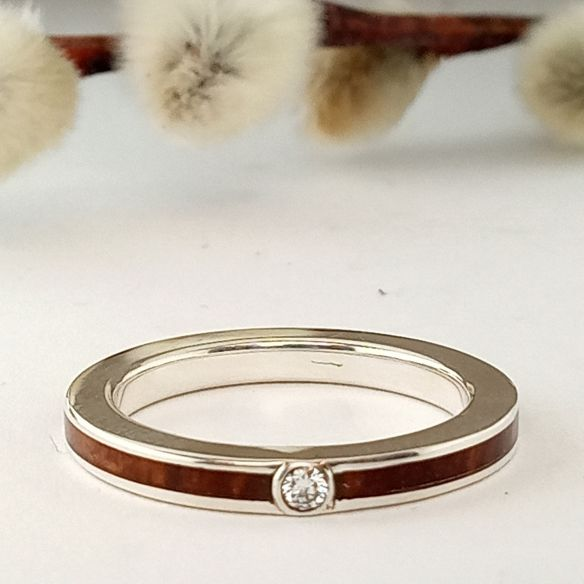 Stone rings Silver ring, diamond and briar root wood 180,00 € Viademonte Jewelry
