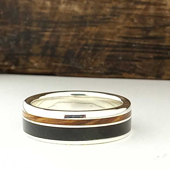 Silver wood rings Silver ring made with ebony wood & olive wood 160,00€ Viademonte Jewelry