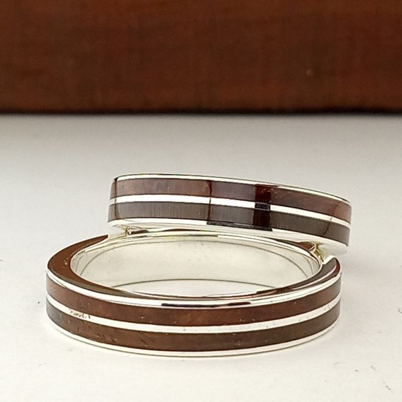 Ring sets Set silver rings made with cherry wood and walnut 280,00€ Viademonte Jewelry