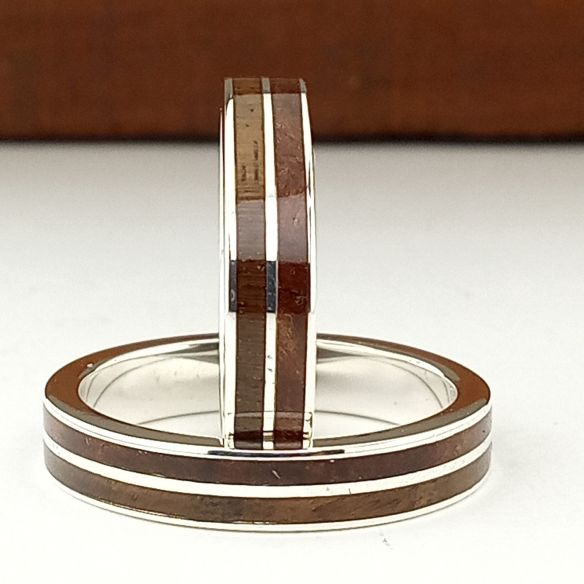 Ring sets Set silver rings made with cherry wood and walnut 320,00€ Viademonte Jewelry