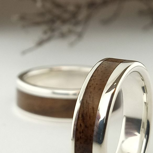 Parelles d'anells Aliances de plata i fusta de noguera 290,00 € Viademonte Jewelry