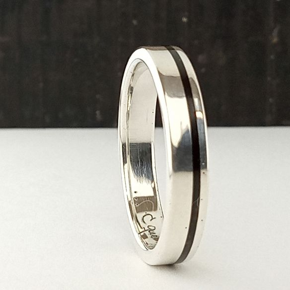 Silver wood rings Wooden silver band - Thin line of ebony wood 150,00€ Viademonte Jewelry