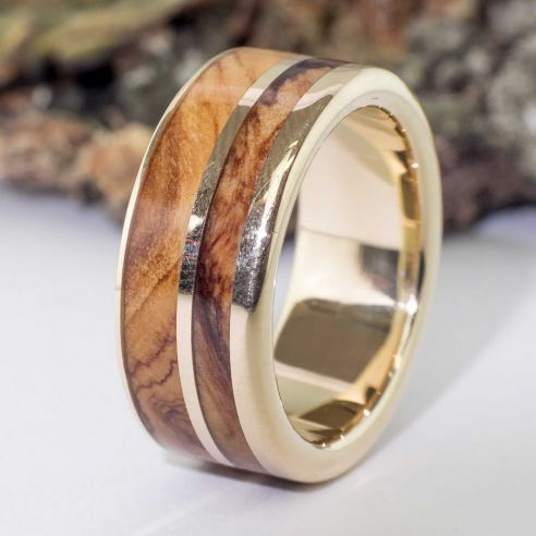 Gold wood rings 18k gold and olive ring 850,00€ Viademonte Jewelry