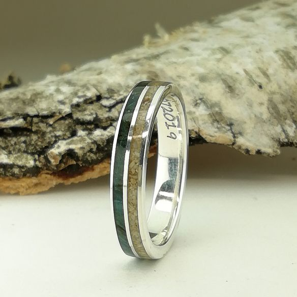 Sand rings Sand and green wood silver ring 150,00 € Viademonte Jewelry