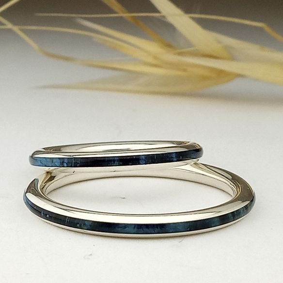 Ring sets Set of silver rings & blue birch wood 240,00 € Viademonte Jewelry