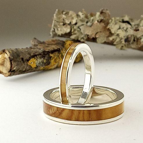 Parejas de anillos Alianzas de Boda originales Barcelona 2019 . Alianzas de plata y olivo 270,00€ Viademonte Jewelry