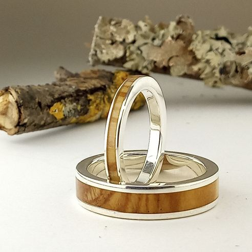 Ring sets Original wedding rings 2020 - Wood and silver rings 270,00 € Viademonte Jewelry