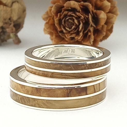 Parejas de anillos Alianzas de plata y madera de olivo y roble 300,00€ Viademonte Jewelry
