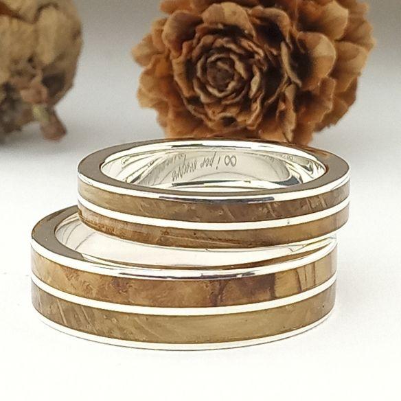 Ringpaare Viademonte Jewelry aus Silber, Olivenholz und Eiche 300,00 € Viademonte Jewelry