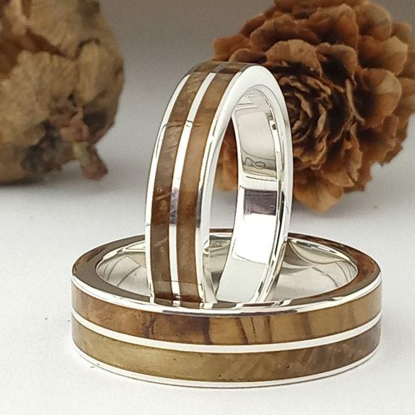 Parelles d'anells Aliances de plata i fusta d'olivera i roure 300,00 € Viademonte Jewelry