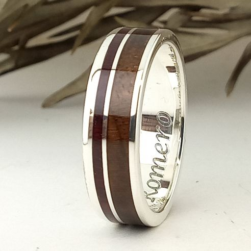 Silver wood rings Ring made in silver & walnut and amaranth wood 160,00€ Viademonte Jewelry