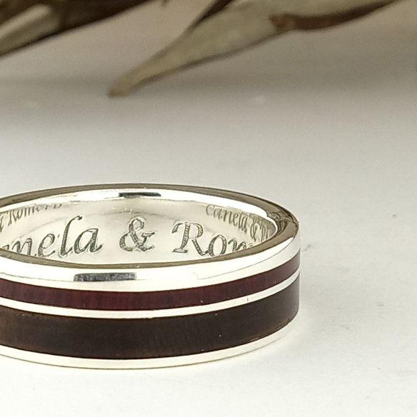 Anillos con madera y plata Anillo hecho en plata con madera de nogal y amaranto 160,00€ Viademonte Jewelry