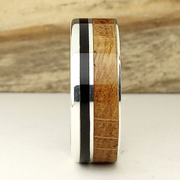Silver wood rings Silver ring and wood - Ebony and Oak wood 160,00€ Viademonte Jewelry