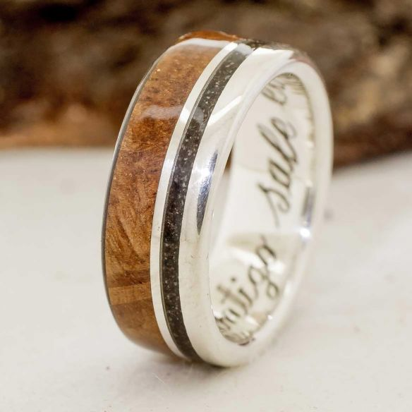 Sand rings Silver Mediterranean ring with dust and oak 170,00€ Viademonte Jewelry