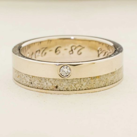 Gemstone Wooden rings White gold wedding ring 2mm Diamond, and Mediterranean sand 900,00€ Viademonte Jewelry