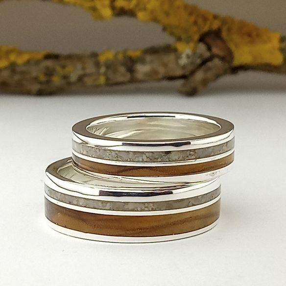 Ring sets Set silver ring made with sand and olive wood 170,00 € Viademonte Jewelry