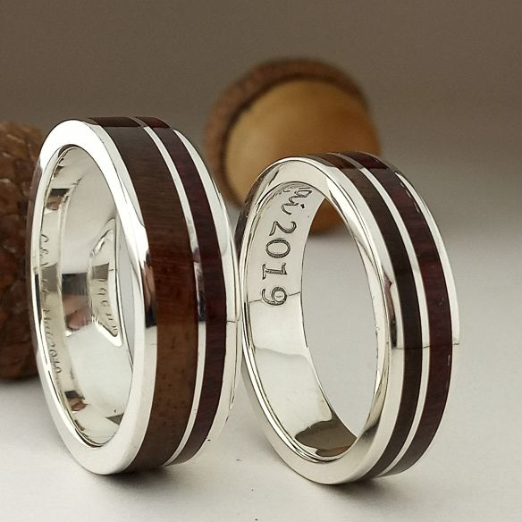Ring sets Set silver rings made - Amaranth wood and walnut 320,00€ Viademonte Jewelry