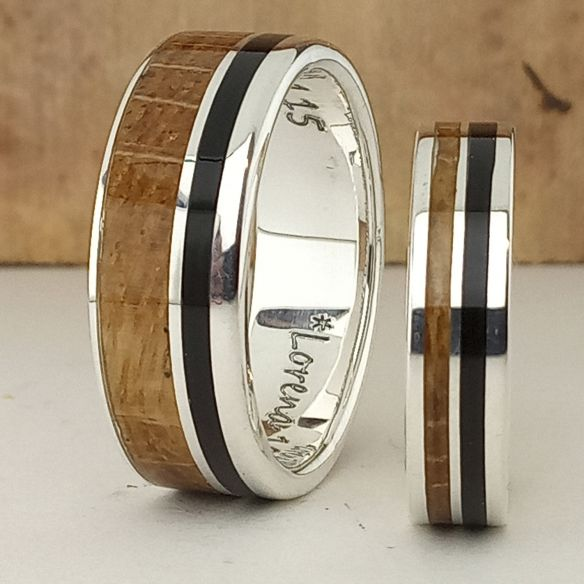 Ring sets Set silver rings made - Oak wood and ebony 320,00 € Viademonte Jewelry