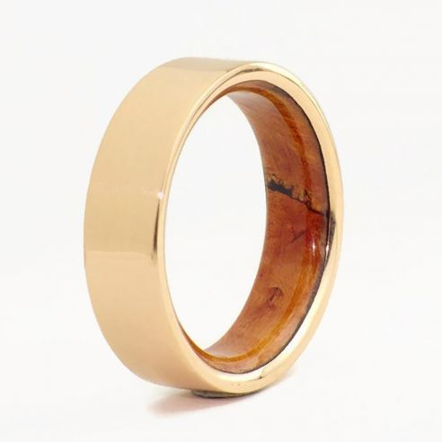 Gold wood bands Rose gold ring and briar root wood inside 660,00€ Viademonte Jewelry