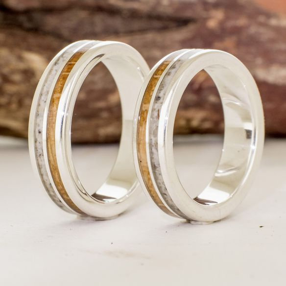 Ring sets Set silver ring sand and oak wood 255,00 € Viademonte Jewelry
