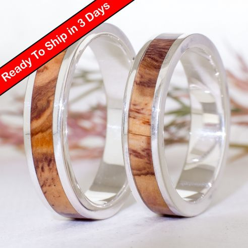 Ring sets Set silver ring made with olive wood 300,00€ Viademonte Jewelry