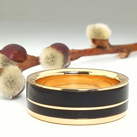 Gold wood rings 18k gold and ebony ring 850,00€ Viademonte Jewelry