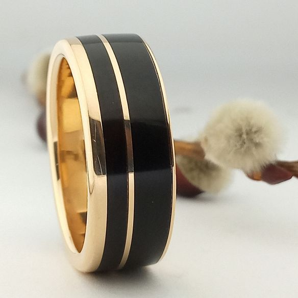 Gold wood rings 18k gold and ebony ring 850,00 € Viademonte Jewelry