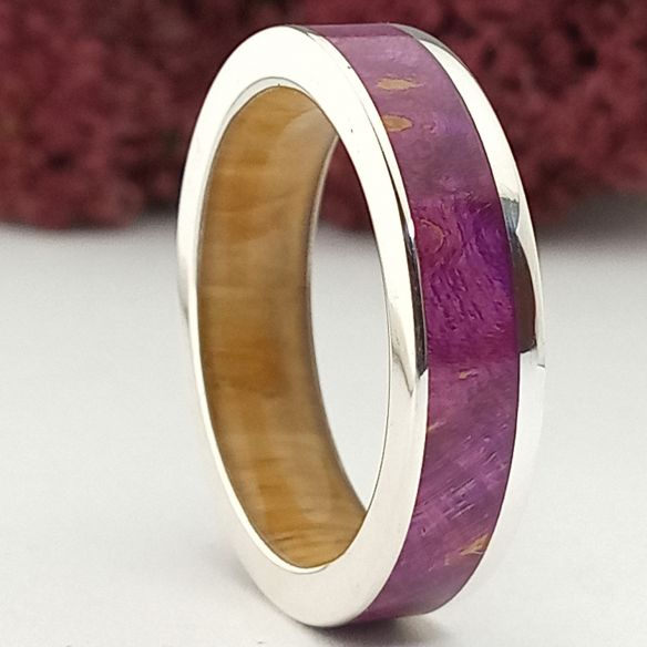Silver wood bands Silver ring and violet birch and lignum vitae 220,00€ Viademonte Jewelry