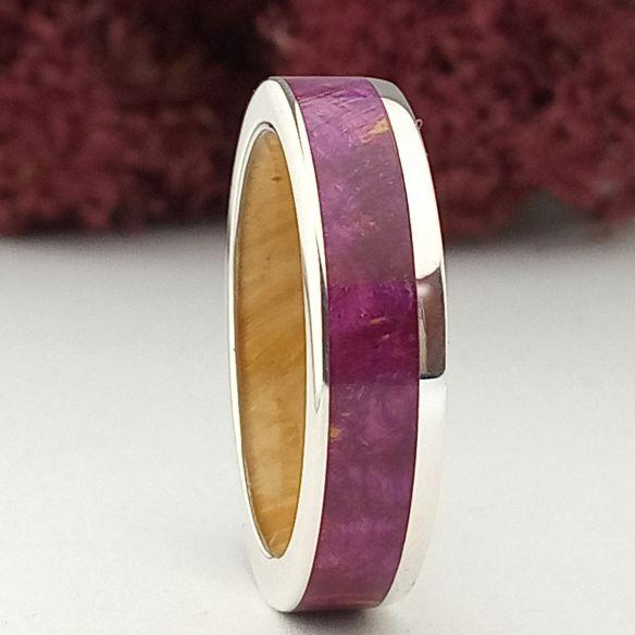 Alianzas con madera y plata Anillo de plata mujer con madera de álamo violeta y palo santo 220,00€ Viademonte Jewelry
