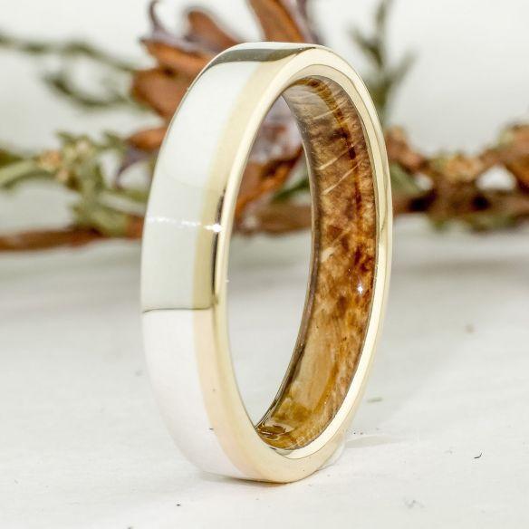Alianzas con madera y oro Anillos de oro madera de roble y plata de ley - Joyeria con madera 260,00€ Viademonte Jewelry