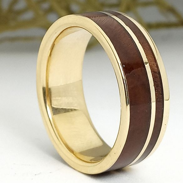 Gold wood rings 18k gold and walnut ring 850,00€ Viademonte Jewelry