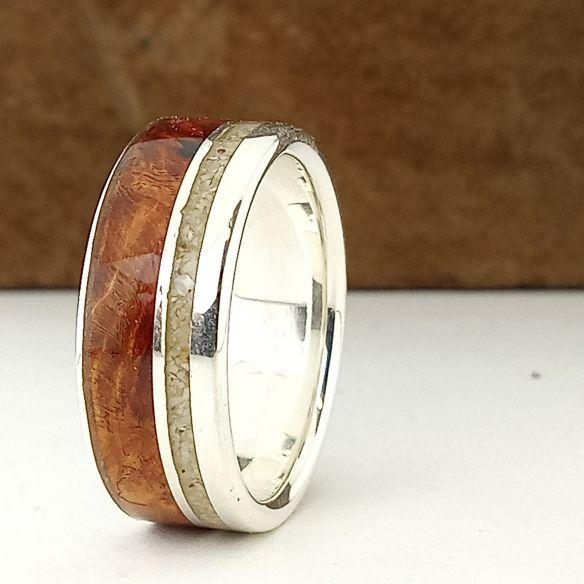 Anillos con Arena Anillo plata, madera de brezo y arena 170,00€ Viademonte Jewelry