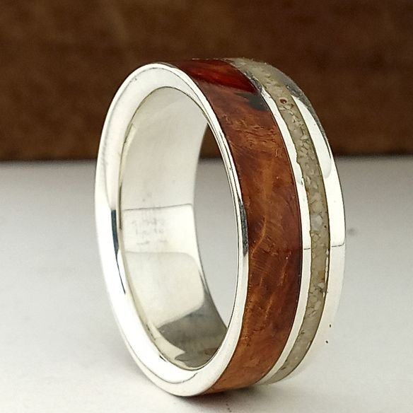 Sand rings Mens wedding band silver briar wood and sand 170,00 € Viademonte Jewelry