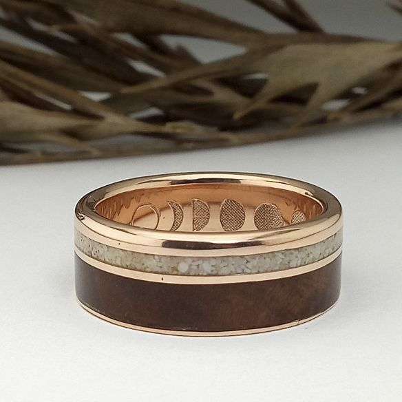 Gold wood rings Rose gold - Walnut and sand ring 750,00€ Viademonte Jewelry