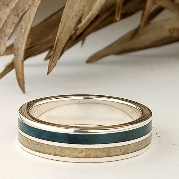 Sand rings Original rings - Sand and birch dyed blue sterling silver ring 170,00€ Viademonte Jewelry