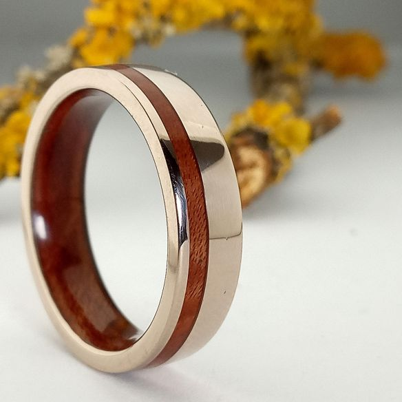 Gold wood rings White gold 18k inlay wedding ring with briar wood 820,00€ Viademonte Jewelry