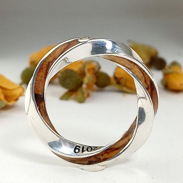 Anillos minimal Anillo de plata mujer infinito con diamante de 2 mm y madera de olivo 280,00€ Viademonte Jewelry