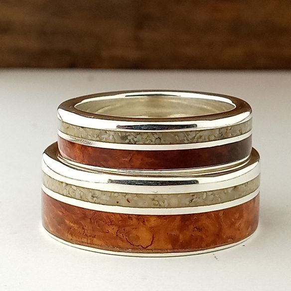 Ring sets Set silver ring made with sand and brisr root wood 330,00€ Viademonte Jewelry
