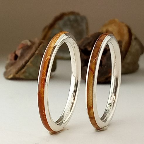 Anillos minimal Anillos minimalistas de plata de ley madera de olivo y enebro 240,00€ Viademonte Jewelry
