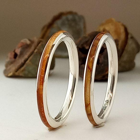 Stackable rings minimal silver rings & olive-juniper wood 240,00€ Viademonte Jewelry