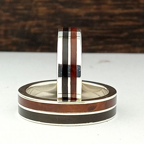 Ring sets Set silver rings made with ebony and cherry wood 320,00 € Viademonte Jewelry